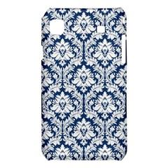 White On Blue Damask Samsung Galaxy S i9008 Hardshell Case
