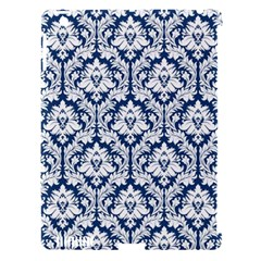 White On Blue Damask Apple iPad 3/4 Hardshell Case (Compatible with Smart Cover)