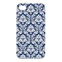 White On Blue Damask Apple iPhone 4/4S Premium Hardshell Case
