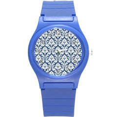 White On Blue Damask Plastic Sport Watch (small)