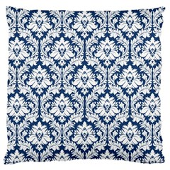 Navy Blue Damask Pattern Large Cushion Case (Two Sides)