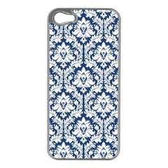 White On Blue Damask Apple iPhone 5 Case (Silver)