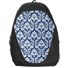 White On Blue Damask Backpack Bag