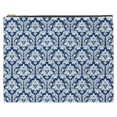 Navy Blue Damask Pattern Cosmetic Bag (XXXL)