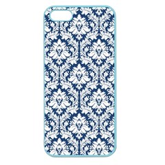 White On Blue Damask Apple Seamless Iphone 5 Case (color)