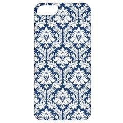 White On Blue Damask Apple Iphone 5 Classic Hardshell Case