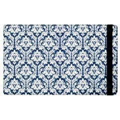 White On Blue Damask Apple iPad 2 Flip Case
