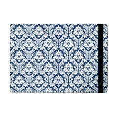 White On Blue Damask Apple Ipad Mini Flip Case