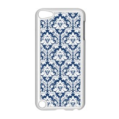 White On Blue Damask Apple iPod Touch 5 Case (White)
