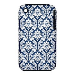White On Blue Damask Apple iPhone 3G/3GS Hardshell Case (PC+Silicone)