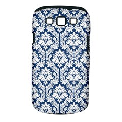 White On Blue Damask Samsung Galaxy S Iii Classic Hardshell Case (pc+silicone)