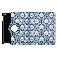 White On Blue Damask Apple iPad 3/4 Flip 360 Case
