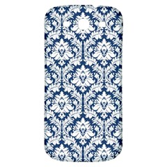 White On Blue Damask Samsung Galaxy S3 S III Classic Hardshell Back Case