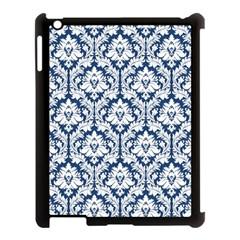 White On Blue Damask Apple iPad 3/4 Case (Black)