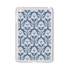 White On Blue Damask Apple iPad Mini 2 Case (White)