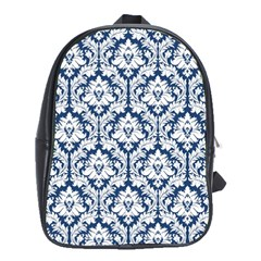 Navy Blue Damask Pattern School Bag (XL)