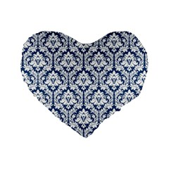Navy Blue Damask Pattern Standard 16  Premium Heart Shape Cushion