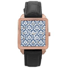 White On Blue Damask Rose Gold Leather Watch