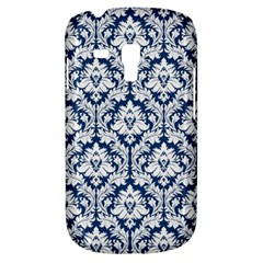 White On Blue Damask Samsung Galaxy S3 Mini I8190 Hardshell Case