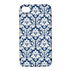 White On Blue Damask Apple iPhone 4/4S Hardshell Case with Stand