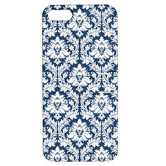 White On Blue Damask Apple iPhone 5 Hardshell Case with Stand