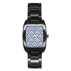 White On Blue Damask Stainless Steel Barrel Watch