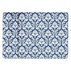White On Blue Damask Samsung Galaxy Tab 10 1  P7500 Flip Case