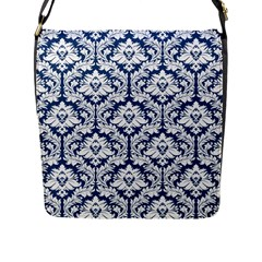 Navy Blue Damask Pattern Flap Closure Messenger Bag (l)
