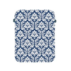 White On Blue Damask Apple Ipad Protective Sleeve