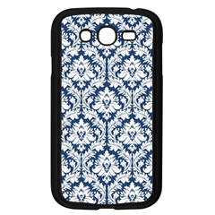 White On Blue Damask Samsung Galaxy Grand Duos I9082 Case (black)