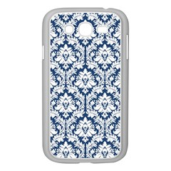 White On Blue Damask Samsung Galaxy Grand Duos I9082 Case (white)