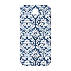 White On Blue Damask Samsung Galaxy S4 I9500/I9505  Hardshell Back Case