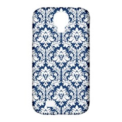 White On Blue Damask Samsung Galaxy S4 Classic Hardshell Case (PC+Silicone)