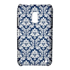 White On Blue Damask Nokia Lumia 620 Hardshell Case