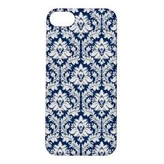 White On Blue Damask Apple iPhone 5S Hardshell Case