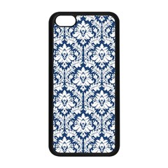 White On Blue Damask Apple iPhone 5C Seamless Case (Black)