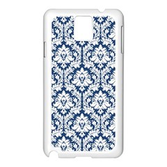 White On Blue Damask Samsung Galaxy Note 3 N9005 Case (White)