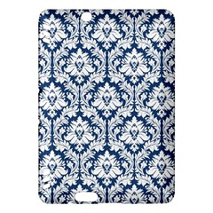 White On Blue Damask Kindle Fire HDX 7  Hardshell Case