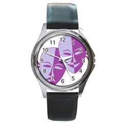 Comedy & Tragedy Of Chronic Pain Round Leather Watch (Silver Rim)