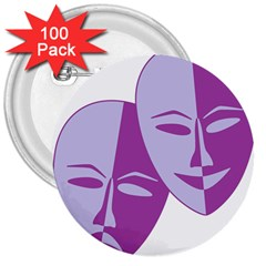 Comedy & Tragedy Of Chronic Pain 3  Button (100 pack)