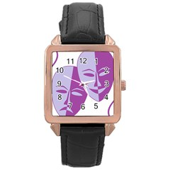Comedy & Tragedy Of Chronic Pain Rose Gold Leather Watch
