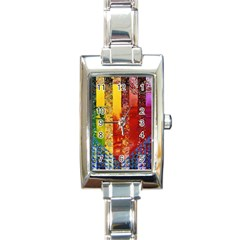 Conundrum I, Abstract Rainbow Woman Goddess  Rectangular Italian Charm Watch