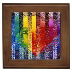 Conundrum I, Abstract Rainbow Woman Goddess  Framed Ceramic Tile