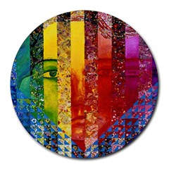 Conundrum I, Abstract Rainbow Woman Goddess  8  Mouse Pad (round)