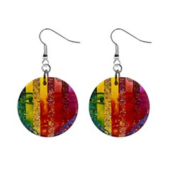 Conundrum I, Abstract Rainbow Woman Goddess  Mini Button Earrings