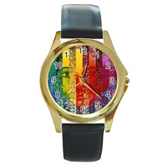 Conundrum I, Abstract Rainbow Woman Goddess  Round Leather Watch (gold Rim)