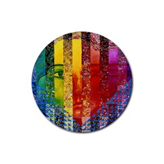 Conundrum I, Abstract Rainbow Woman Goddess  Drink Coasters 4 Pack (round)