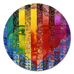 Conundrum I, Abstract Rainbow Woman Goddess  Magnet 5  (Round)