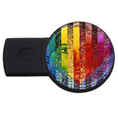 Conundrum I, Abstract Rainbow Woman Goddess  2GB USB Flash Drive (Round)
