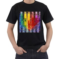 Conundrum I, Abstract Rainbow Woman Goddess  Men s Two Sided T-shirt (Black)